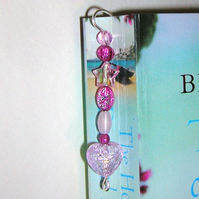 Beaded bookmark Pink heart