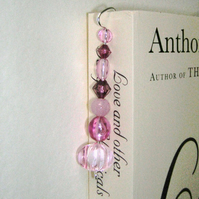 Beaded Bookmark Pink and Plum