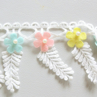 White Leaves Embroidery Cotton Lace Trim, Floral Trim With Pink, Blue And Yellow