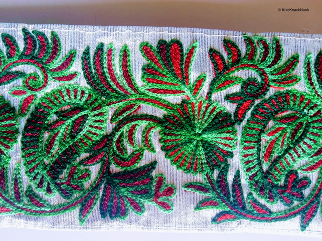 Gold Fabric Trim With Green and Red Floral Thread Embroidery One Yard Lace Trim
