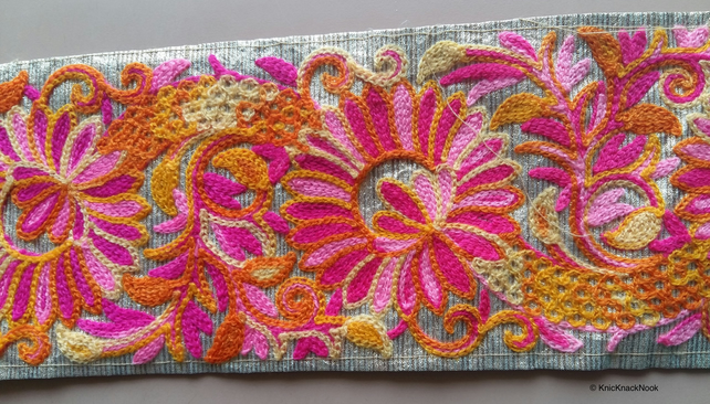 Gold Fabric Trim With Pink and Orange Floral Thread Embroidery One Yard Lace