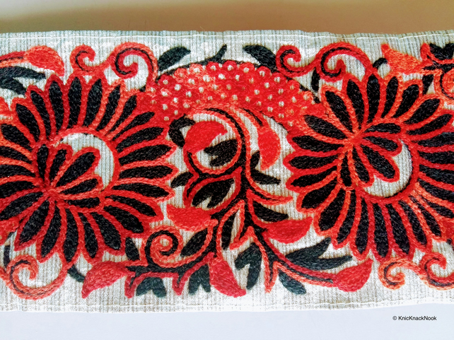 Gold Fabric Trim With Black and Red Floral Thread Embroidery One Yard Lace Trim