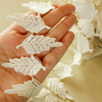 Off White Leaves Vine Trim Lace, 55 mm Wide