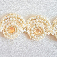 Beige Embroidered Lace Trim With Pearls And Beads, Approx. 38mm Wide
