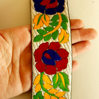 Blue, Red, Yellow And Green Flower Embroidery White Fabric Lace Trim, Approx. 50