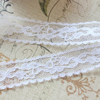 White Embroidered Net Lace Trim Ribbon 23mm wide