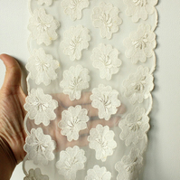 Off White Soft Net Lace Trim With Embroidered Flowers 7 inches wide