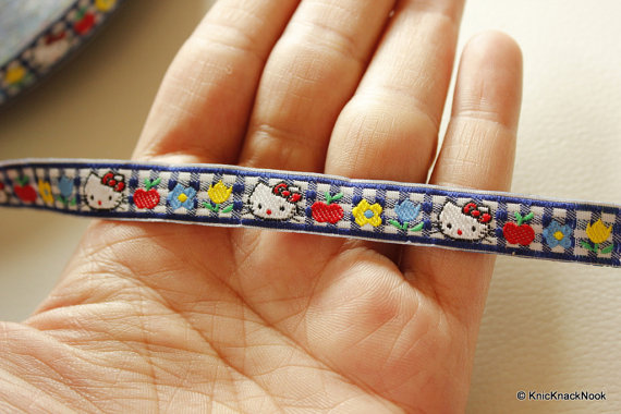 Blue And White Checks Hello Kitty Cotton Ribbon Trim, Approx. 12mm wide
