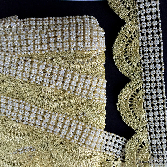Gold Thread Scallop Border With White Pearl One Yard Trim 55mm wide