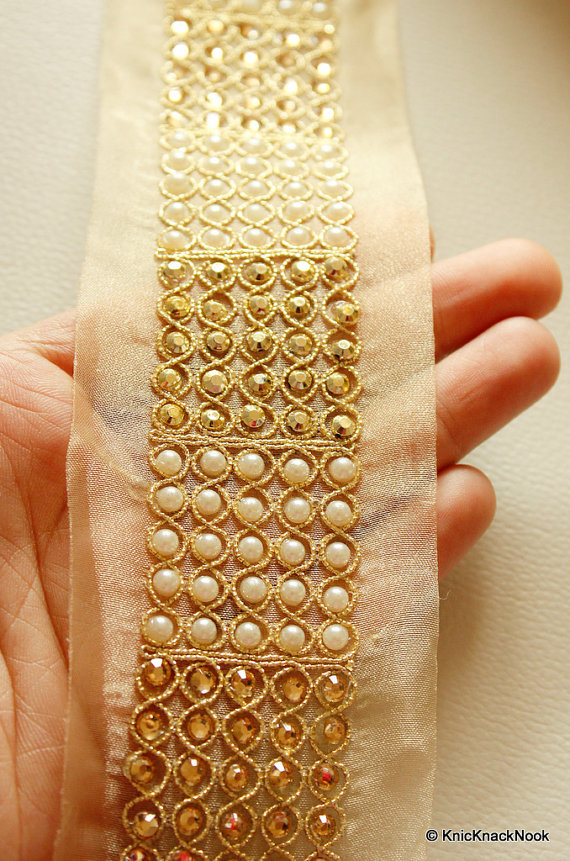 Copper Crystal And White Pearl Beads Gold Lace Trim, Approx. 60mm Wide