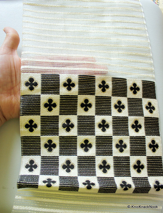 Black And Off White Trim With Embroidery And Sheer Fabric, Approx. 21 cm wide