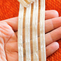 Bronze And White Thread Sheer Stripes Trim Lace, Approx. 38mm wide
