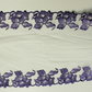 White Soft Net Lace Trim with Purple Embroidery  Both Sides, 8 inches wide