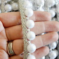 Off White Pearls and Beads With Silver Woven Thread Trim One Yard 20mm wide