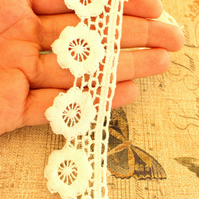 Off White Embroidered Flower Lace Trim Ribbon Approx 32mm wide