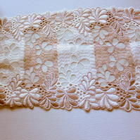 Off White And Light Brown Net Lace Trim With Embroidered Flowers 6 inches wide