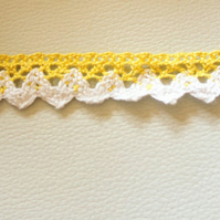 Yellow and White Embroidery Crochet (Cotton)  Lace Trims Approx. 18mm Wide