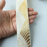 Off White And Gold Embroidery One Yard Trim, 41mm Wide