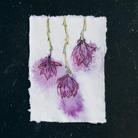 Flower illustration, art, drawing, handing flowers in ink on handmade paper
