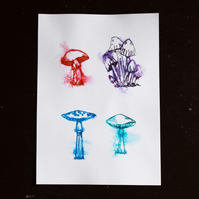Mushroom ink artwork, vibrant, colorful fungi drawing, pen and ink