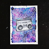 Boom Box music lover illustration artwork, pen and ink stereo drawing