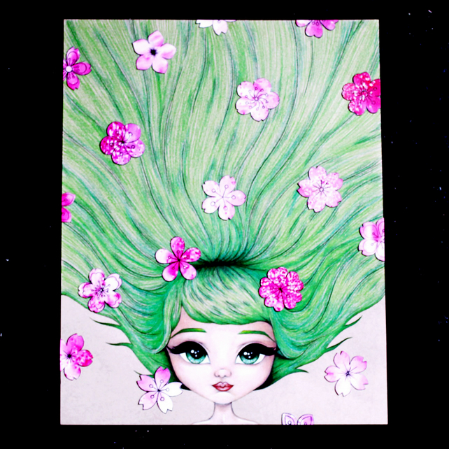 Cherry Blossom Art Big Eyes Drawing Green And Pink