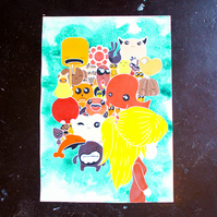 Cute creature world artwork, illustration in pencil crayon and ink