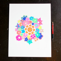Flower illustration, art, pen drawing