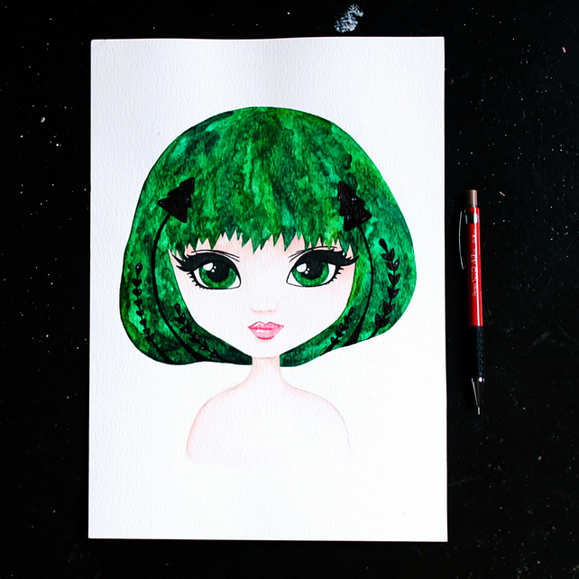 Pine tree girl artwork created with watercolors