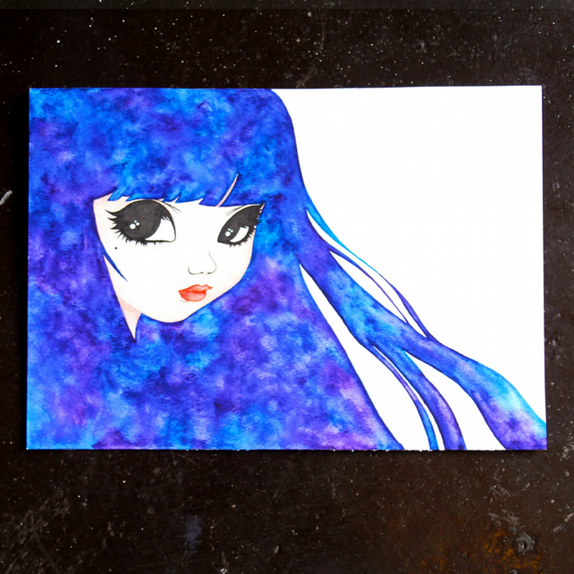 blue hair girl artwork created with watercolors