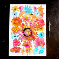 Flower illustration, art, drawing, ink collage