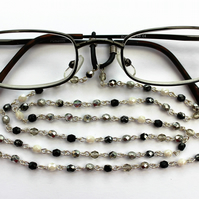 glasses chain, black and silver, beaded lanyard, spectacles chain