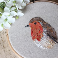 Hand embroidered and painted robin
