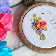 miniature bouquet bright, collect beautiful moments silk ribbon embroidered hoop