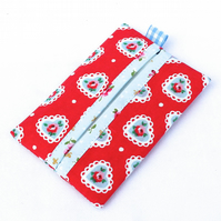 Pocket tissue case, travel - Cath Kidston 'Sweetheart' fabric - red, sky blue