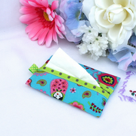 Pocket tissue case, travel tissue holder - 'Russian Dolls' - turquoise, green