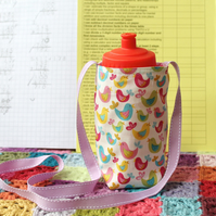 Water Bottle Carrier - Drinks Holder - perfect for school - birds - pink gingham