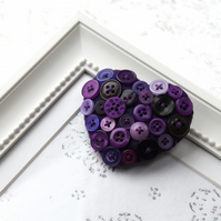 Heart brooch - Hand stitched felt and buttons - purple