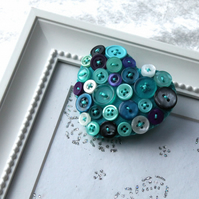 Heart brooch - Hand stitched felt and buttons - turquoise, purple