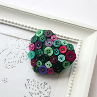 Heart brooch - Hand stitched felt and buttons - Peacock green and purple