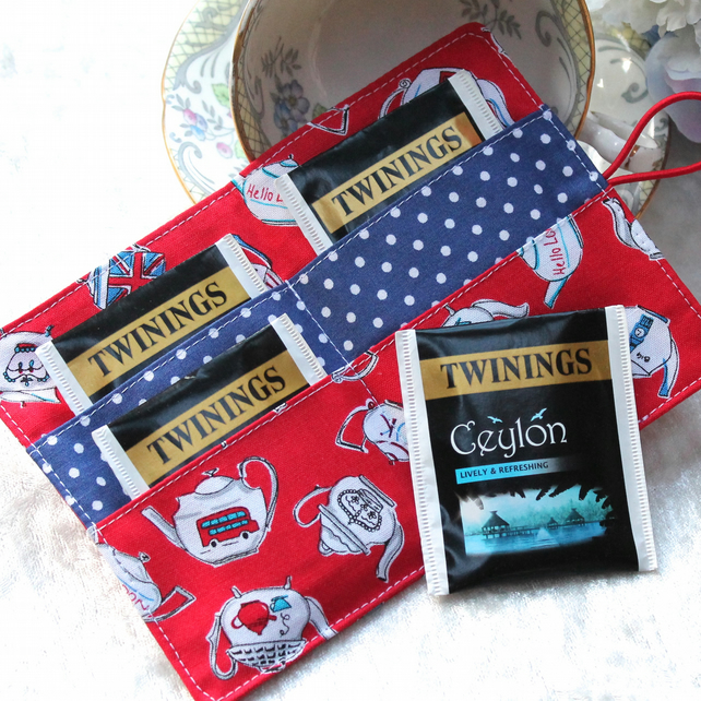Tea-bag or card wallet - 'British Teapots' - red, white and blue