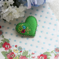 Tiny felt and button heart brooch - bright Spring green, claret, turquoise