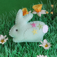 Bunny brooch - hand embroidered felt rabbit - pale aqua - Easter gift