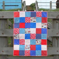 Fleece backed lap quilt or throw - red, white & blue - London fabric - patchwork