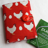 Happy hens tea bag wallet, travel tea holder - red - perfect stocking filler