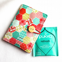 Happy hexagons - tea bag wallet, travel tea holder - perfect stocking filler