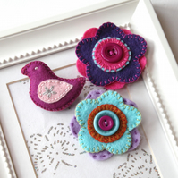 Tiny brooch collection - hand embroidered felt - bird and flowers - set of three