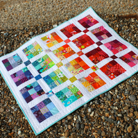 Made to order - Modern rainbow patchwork baby quilt or lap quilt - boys or girls