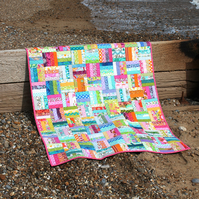 Bright lap quilt or baby quilt - citrus colours - patchwork