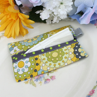 Travel tissue holder, pocket tissue case - Art Deco circles - grey, yellow, lime